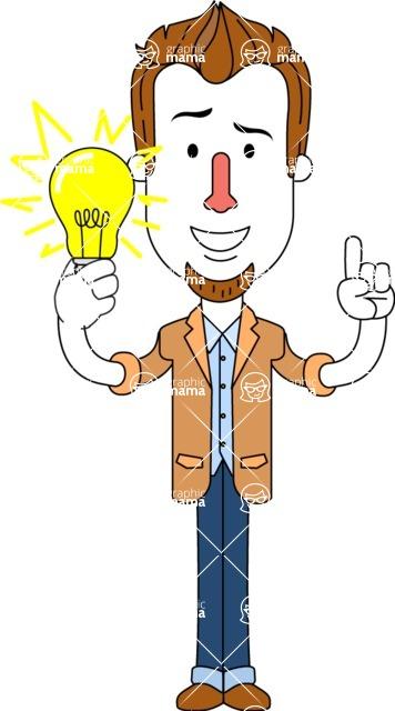Minimalist Businessman Vector Character Design AKA Ian Goatee - Idea 1