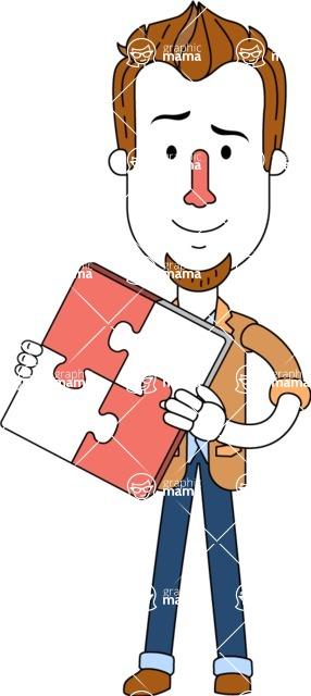 Minimalist Businessman Vector Character Design - Puzzle