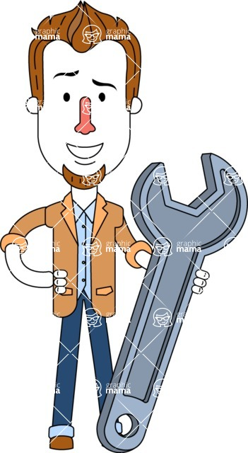 Minimalist Businessman Vector Character Design AKA Ian Goatee - Repair