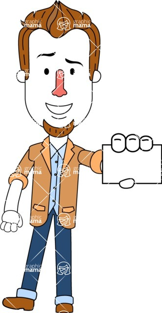 Minimalist Businessman Vector Character Design AKA Ian Goatee - Sign 1