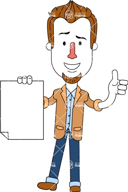 Minimalist Businessman Vector Character Design AKA Ian Goatee - Sign 2