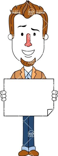 Minimalist Businessman Vector Character Design - Sign 4