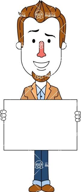 Minimalist Businessman Vector Character Design AKA Ian Goatee - Sign 5