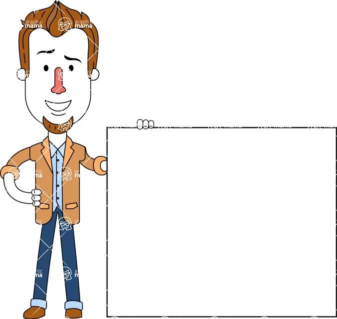 Minimalist Businessman Vector Character Design - Sign 8
