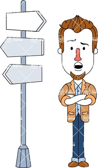 Minimalist Businessman Vector Character Design AKA Ian Goatee - Crossroad
