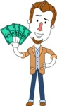 Minimalist Businessman Vector Character Design AKA Ian Goatee - Show me the Money