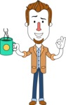 Minimalist Businessman Vector Character Design AKA Ian Goatee - Coffee