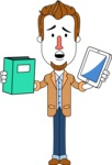 Minimalist Businessman Vector Character Design AKA Ian Goatee - Book and iPad