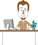 Minimalist Businessman Vector Character Design AKA Ian Goatee - Laptop 1
