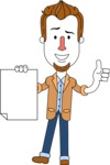 Minimalist Businessman Vector Character Design AKA Ian Goatee - Sign 2