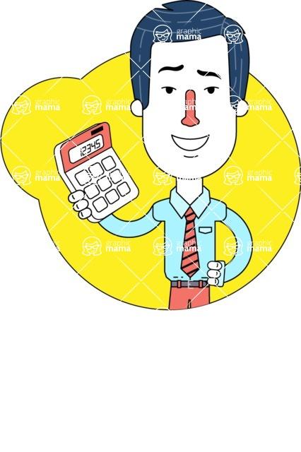 Flat Linear Employee Vector Character Design AKA Steve the Office Guy - Shape 1