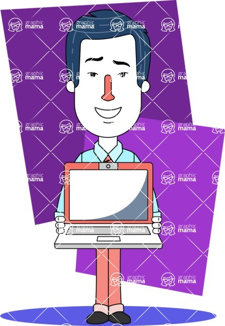 Flat Linear Employee Vector Character Design AKA Steve the Office Guy - Shape 3