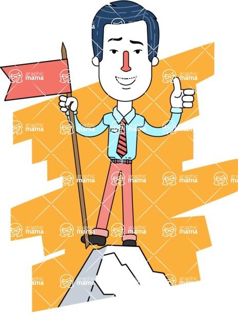 Flat Linear Employee Vector Character Design AKA Steve the Office Guy - Shape 4