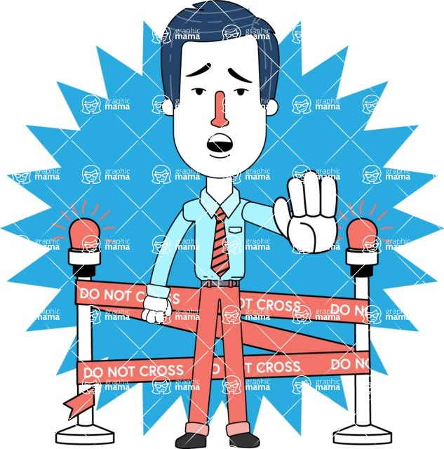 Flat Linear Employee Vector Character Design AKA Steve the Office Guy - Shape 7