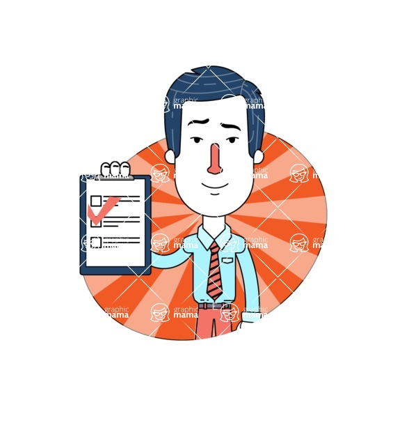 Flat Linear Employee Vector Character Design AKA Steve the Office Guy - Shape 8