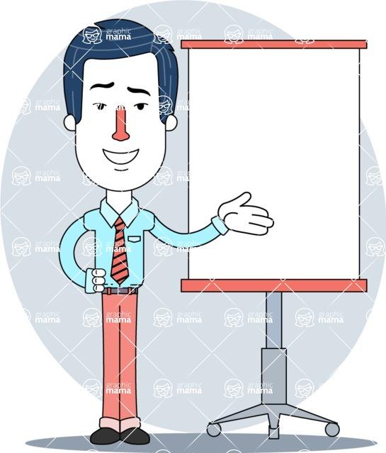Flat Linear Employee Vector Character Design AKA Steve the Office Guy - Shape 10