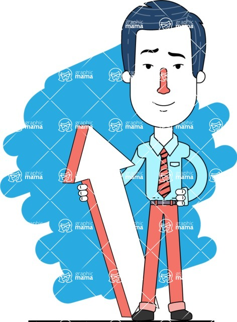 Flat Linear Employee Vector Character Design AKA Steve the Office Guy - Shape 11