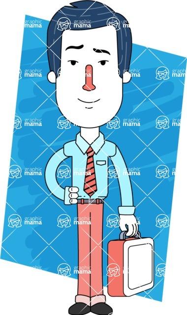 Flat Linear Employee Vector Character Design AKA Steve the Office Guy - Shape 13