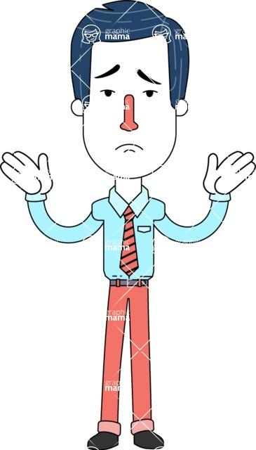 Flat Linear Employee Vector Character Design AKA Steve the Office Guy - Sad