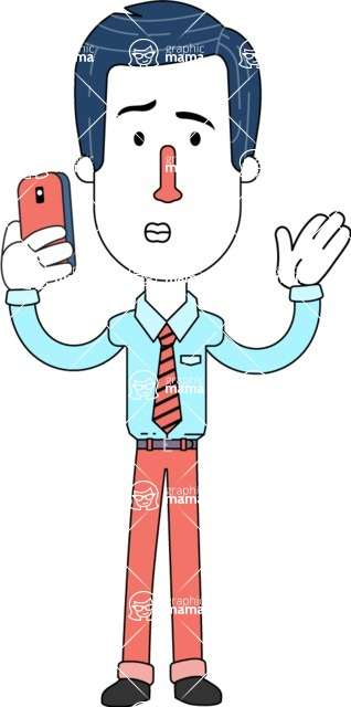 Flat Linear Employee Vector Character Design AKA Steve the Office Guy - Duckface