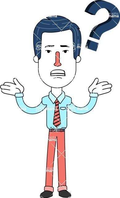 Flat Linear Employee Vector Character Design AKA Steve the Office Guy - Confused