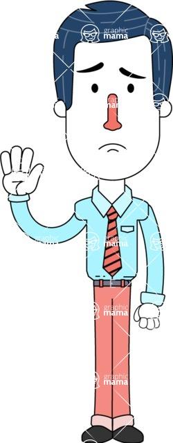 Flat Linear Employee Vector Character Design AKA Steve the Office Guy - Goodbye