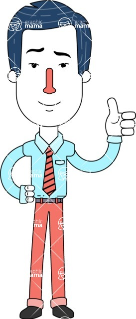 Flat Linear Employee Vector Character Design AKA Steve the Office Guy - Thumbs Up