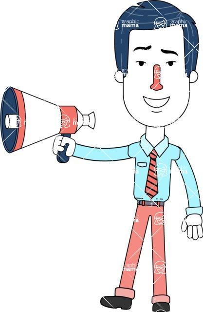 Flat Linear Employee Vector Character Design AKA Steve the Office Guy - Loudspeaker