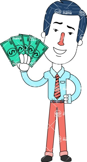 Flat Linear Employee Vector Character Design AKA Steve the Office Guy - Show me the Money
