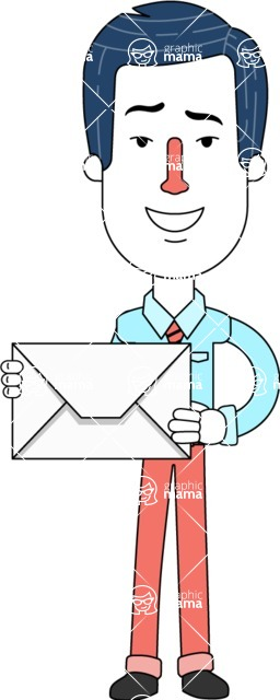 Flat Linear Employee Vector Character Design AKA Steve the Office Guy - Letter