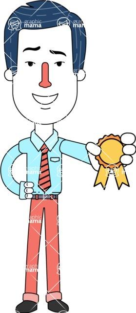 Flat Linear Employee Vector Character Design AKA Steve the Office Guy - Ribbon