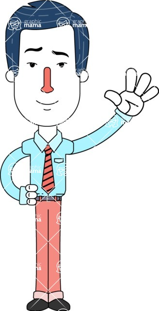 Flat Linear Employee Vector Character Design AKA Steve the Office Guy - Wave