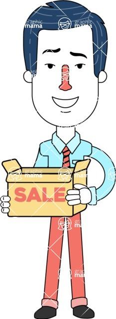 Flat Linear Employee Vector Character Design AKA Steve the Office Guy - Sale