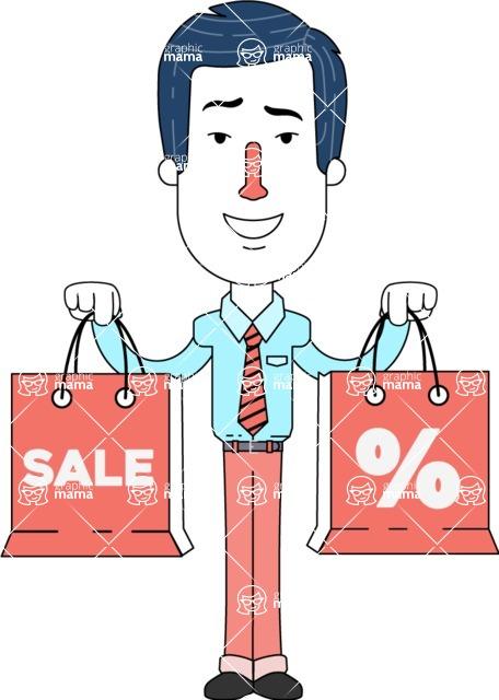 Flat Linear Employee Vector Character Design AKA Steve the Office Guy - Sale2