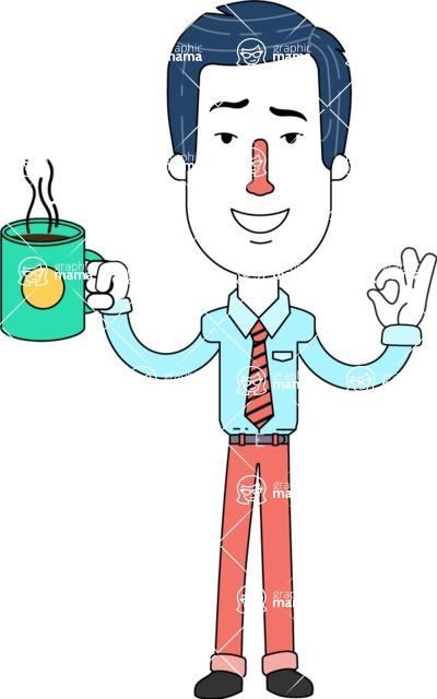 Flat Linear Employee Vector Character Design AKA Steve the Office Guy - Coffee