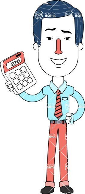 Flat Linear Employee Vector Character Design AKA Steve the Office Guy - Calculator