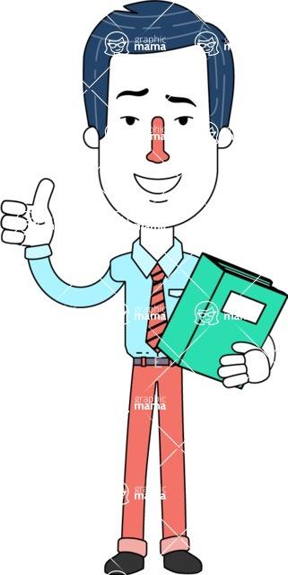 Flat Linear Employee Vector Character Design AKA Steve the Office Guy - Book 3
