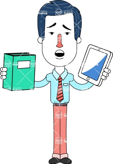 Flat Linear Employee Vector Character Design AKA Steve the Office Guy - Book and iPad