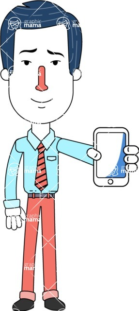 Flat Linear Employee Vector Character Design AKA Steve the Office Guy - iPhone