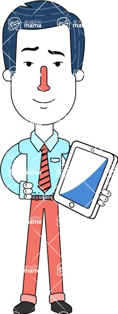 Flat Linear Employee Vector Character Design AKA Steve the Office Guy - iPad3
