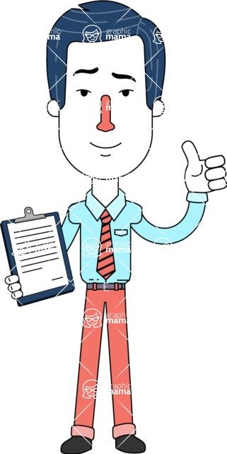 Flat Linear Employee Vector Character Design AKA Steve the Office Guy - Notepad 1