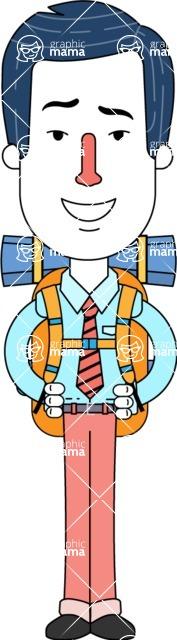 Flat Linear Employee Vector Character Design AKA Steve the Office Guy - Travel 2