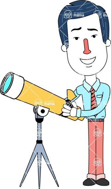 Flat Linear Employee Vector Character Design AKA Steve the Office Guy - Telescope