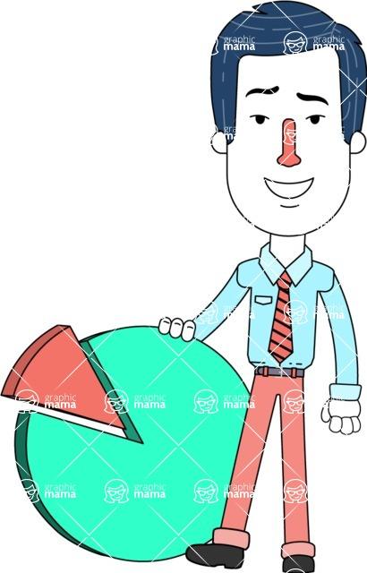Flat Linear Employee Vector Character Design AKA Steve the Office Guy - Chart