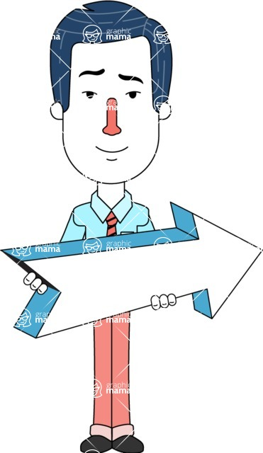 Flat Linear Employee Vector Character Design AKA Steve the Office Guy - Pointer 2