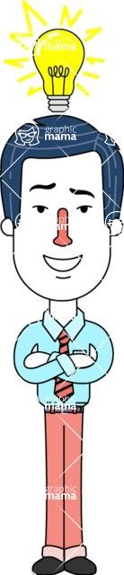 Flat Linear Employee Vector Character Design AKA Steve the Office Guy - Idea 2