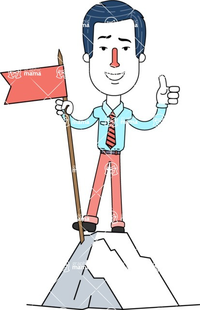 Flat Linear Employee Vector Character Design AKA Steve the Office Guy - On Top