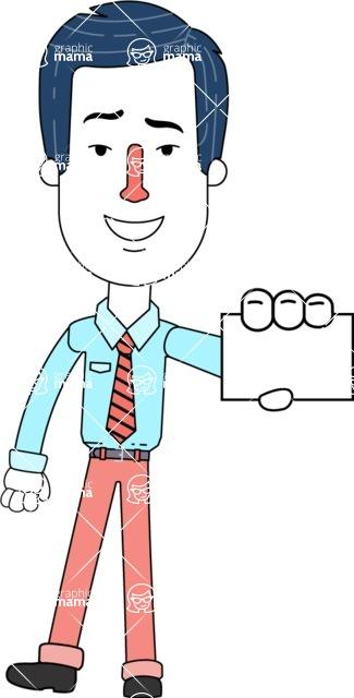 Flat Linear Employee Vector Character Design AKA Steve the Office Guy - Sign 1