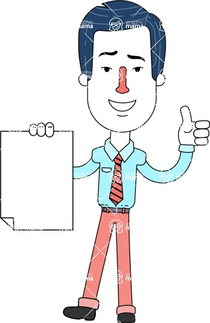Flat Linear Employee Vector Character Design AKA Steve the Office Guy - Sign 2