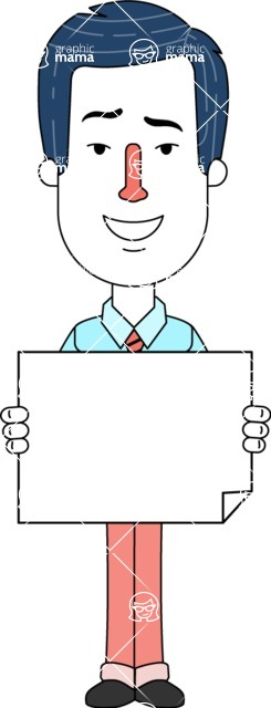 Flat Linear Employee Vector Character Design AKA Steve the Office Guy - Sign 4